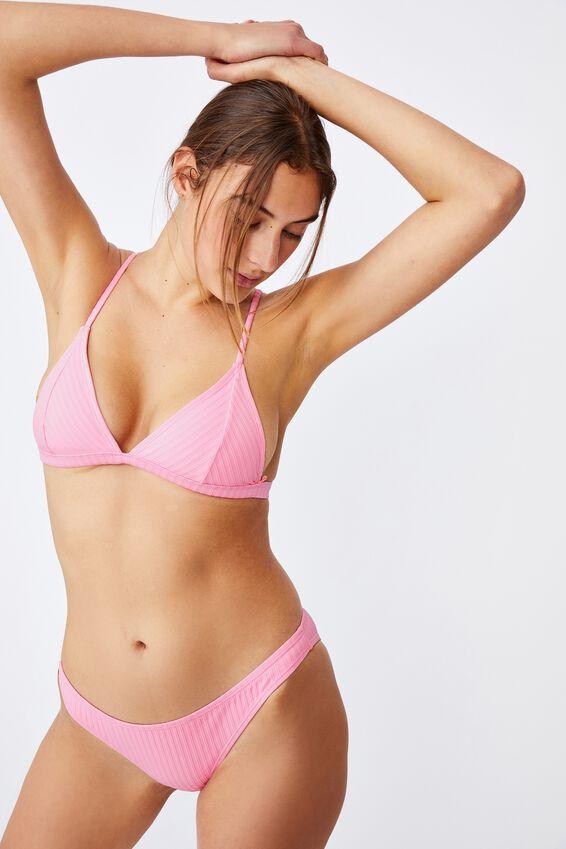 Fixed Triangle Bikini Top, STRAWBERRY RIB