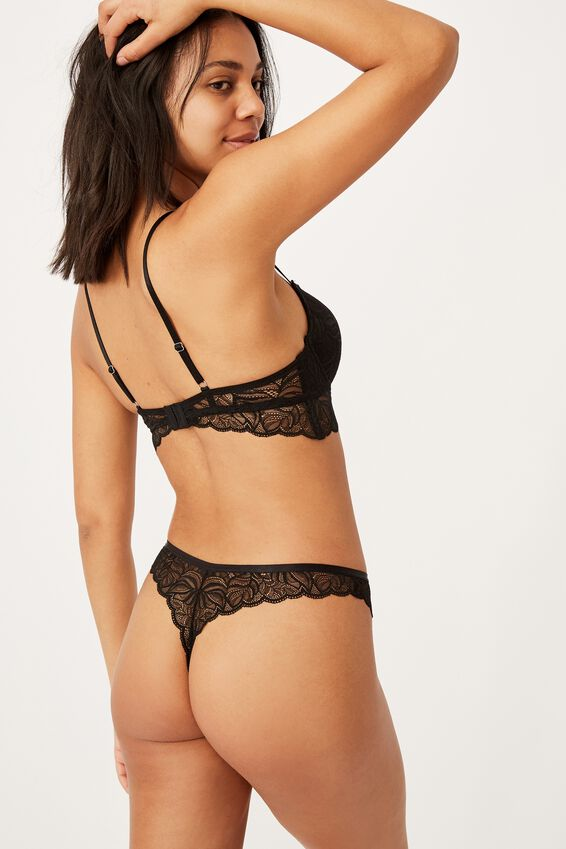 Summer Lace G String Breif, BLACK