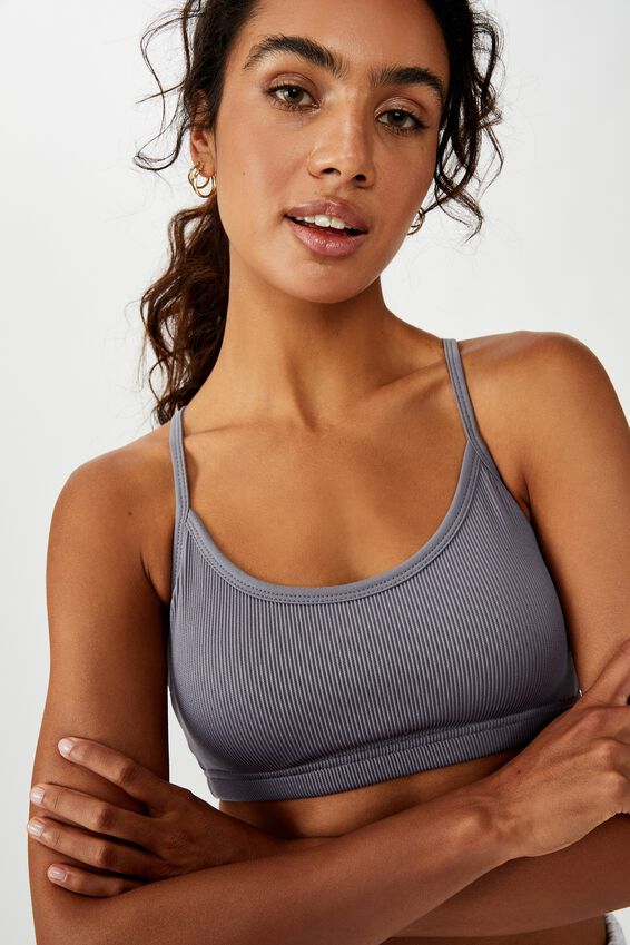 Workout Yoga Crop, ASH AMETHYST RIB