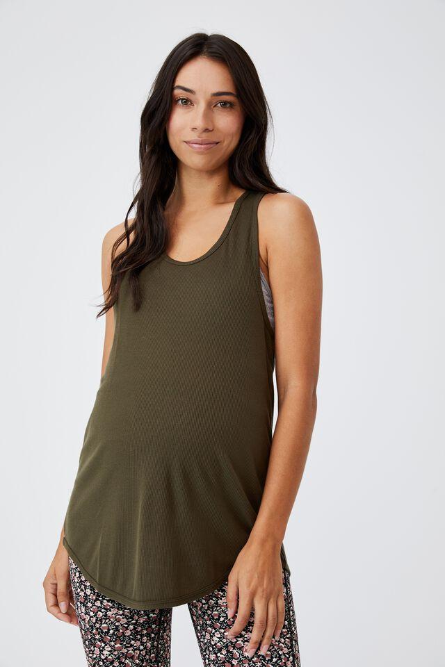 Maternity Training Tank Top, DEEP MOSS RIB