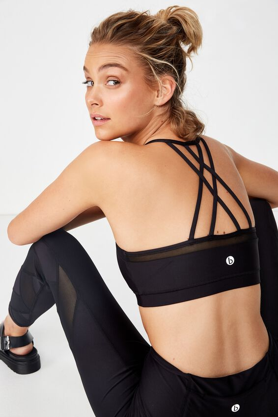 Mesh Strappy Crop, BLACK