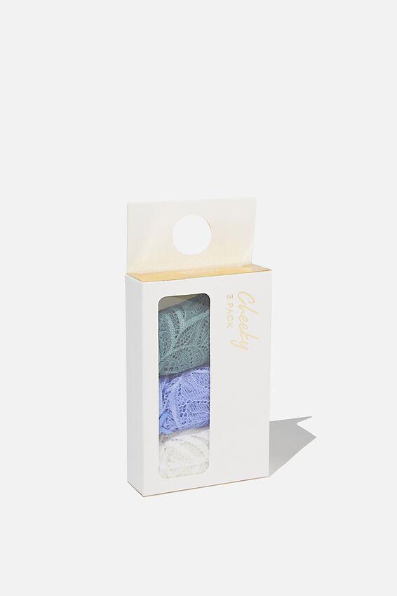 Summer Lace Brasiliano Brief 3 Pack, CREAM/ CORNFLOWER LILAC/ BONSAI GREEN