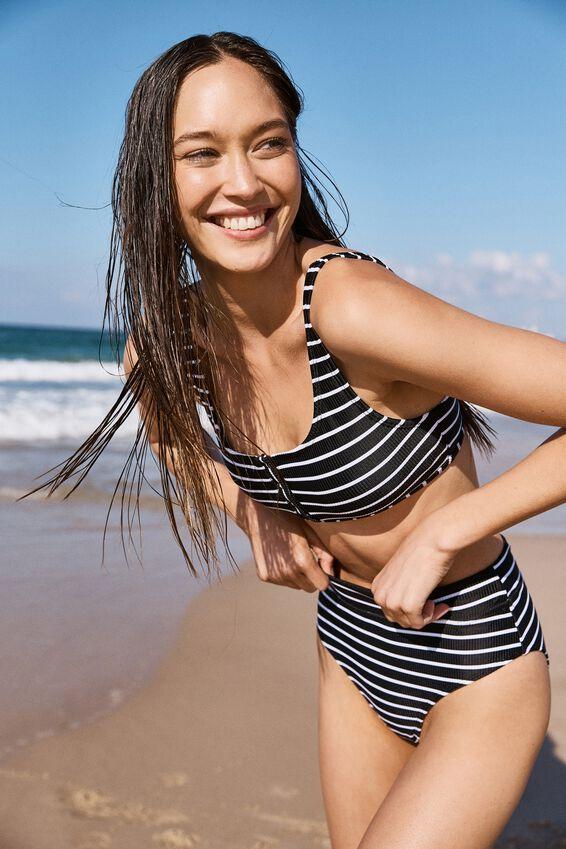 Henley Scoop Crop Bikini Top, BLACK & WHITE STRIPE RIB