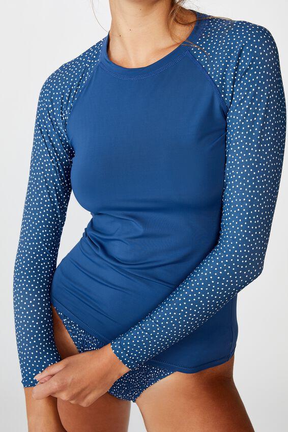 Callie Long Sleeve Swim Top, MARINA BLUE/IRREGULAR SPOT