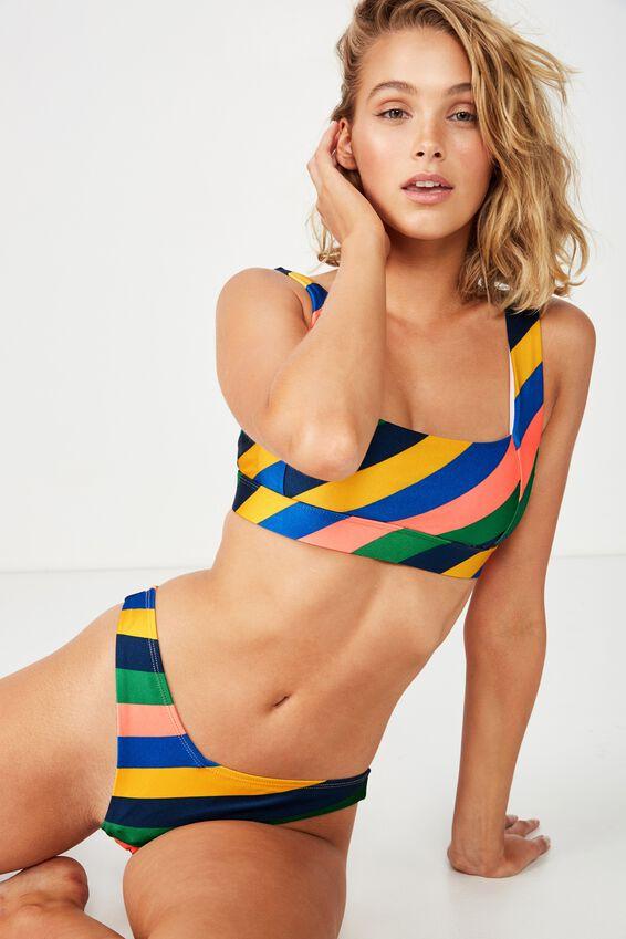 Aria V High Side Cheeky Bikini Bottom, BRIGHT STRIPE