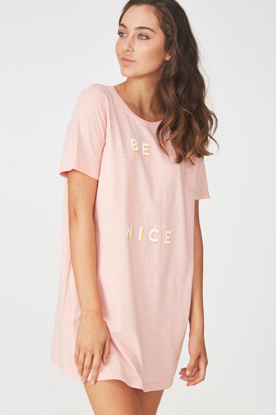 Boxy Tshirt Nightie, PETAL PINK MARLE/BE NICE