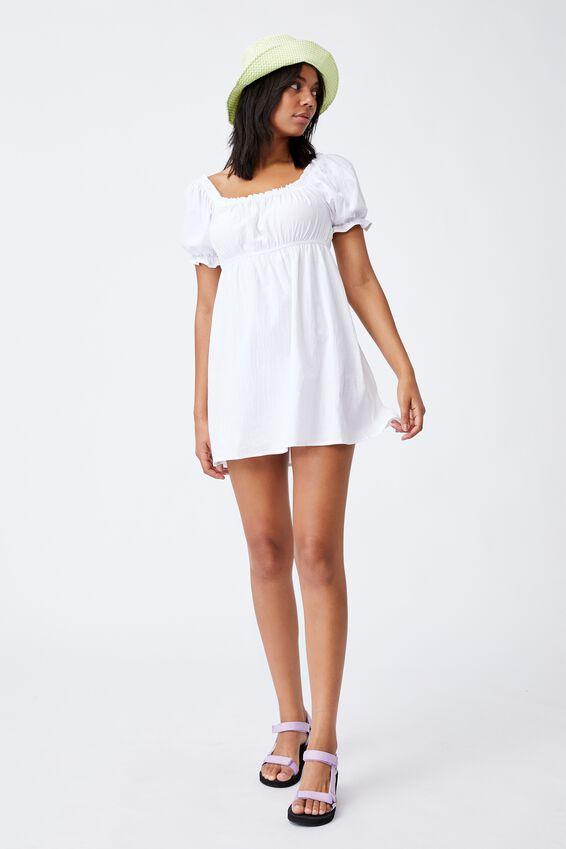Puff Sleeve Beach Dress, WHITE