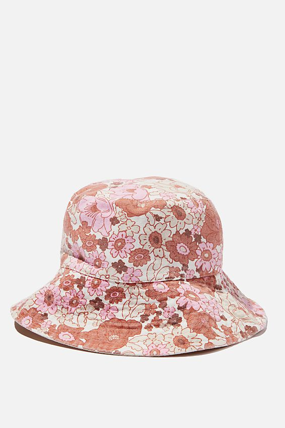 Bonnie Reversible Bucket Hat, PINK RETRO FLORAL