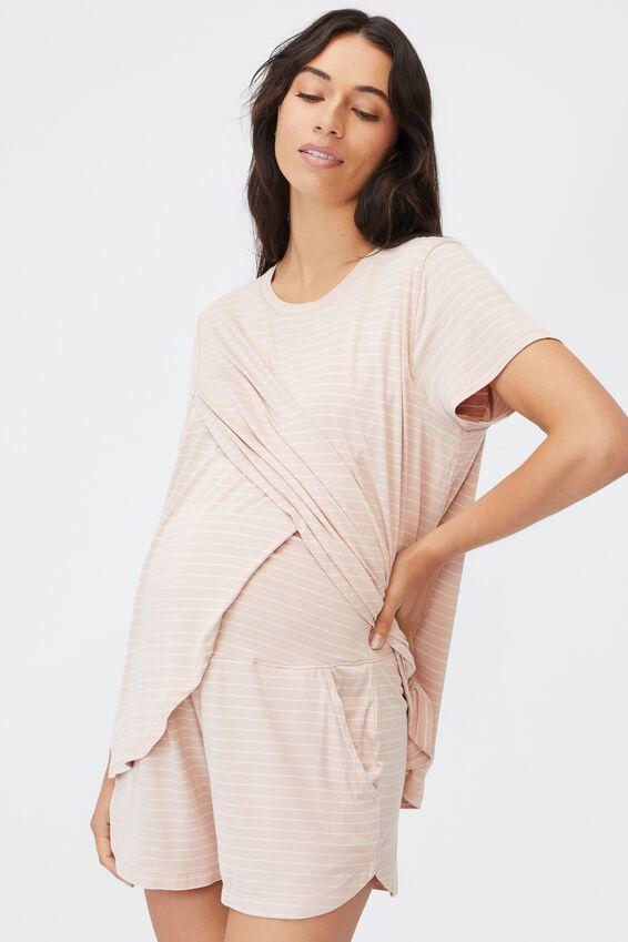 Sleep Recovery Maternity T Shirt, MUSHROOM PINSTRIPE