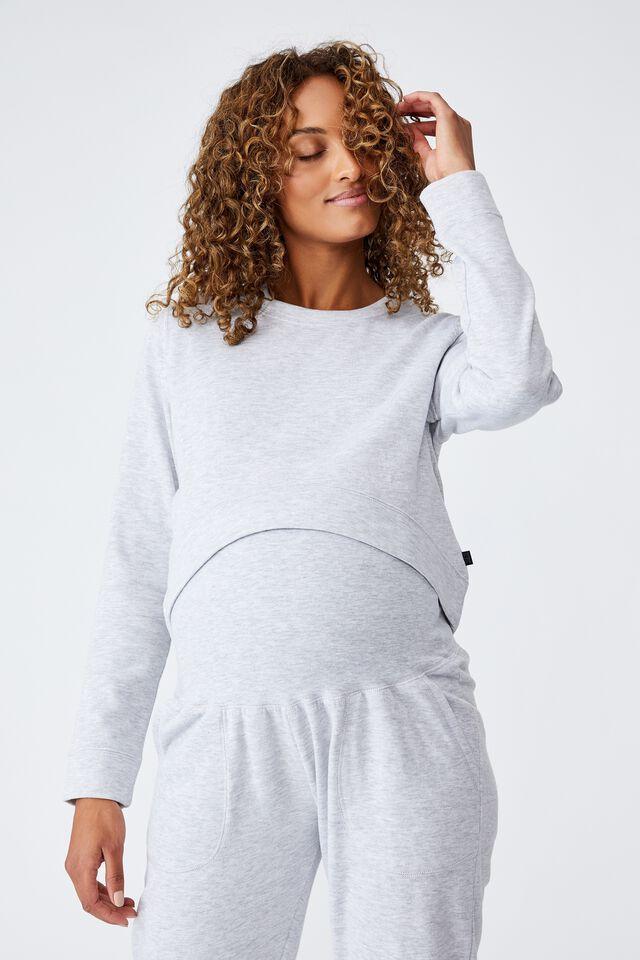Maternity Lifestyle Fleece Crew, GREY MARLE