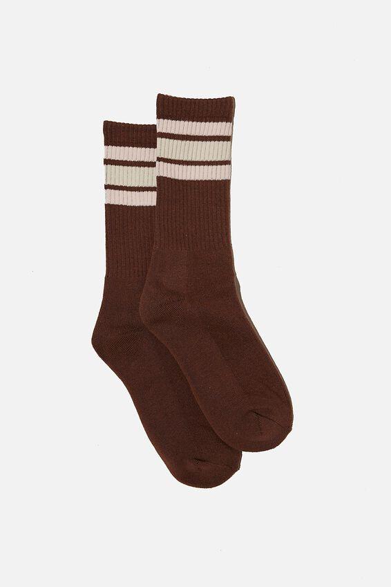 Staycation Sock, RAW UMBER/STRIPE