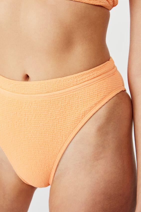 Highwaisted Banded Cheeky Bikini Bottom, CORAL CRINKLE