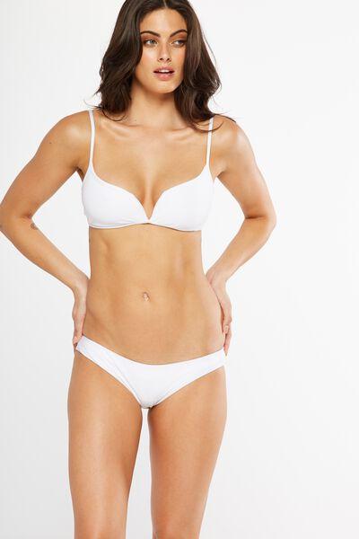 Rib Cheeky Bikini Bottom, WHITE