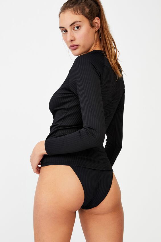 Half Zip Long Sleeve Swim Top, BLACK RIB 21