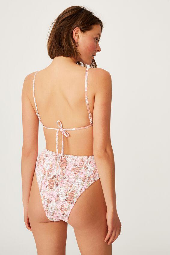 Backless Ruffle Bikini Top, RETRO FLORAL PINK SHIRRED