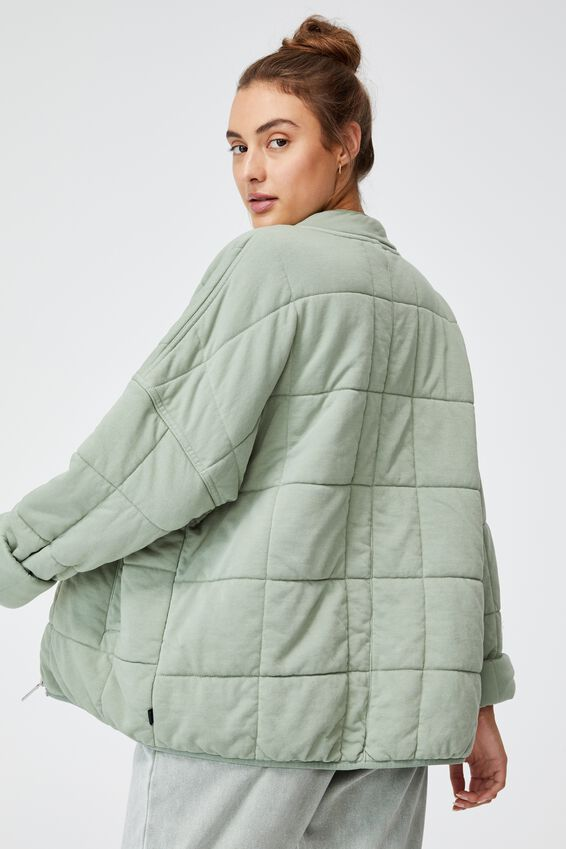 Quilted Zip Through Jacket, DESERT SAGE