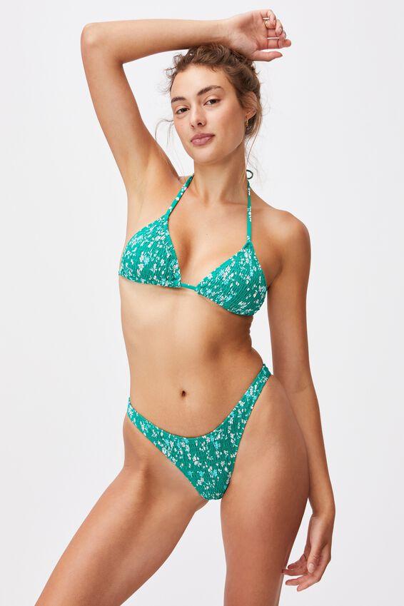 Slider Triangle Bikini Top, EMERALD DITSY DAYS SHIRRED