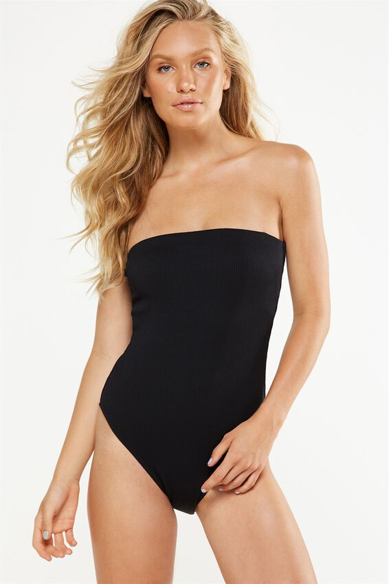 Rib Strapless One Piece Cheeky by Cotton On
