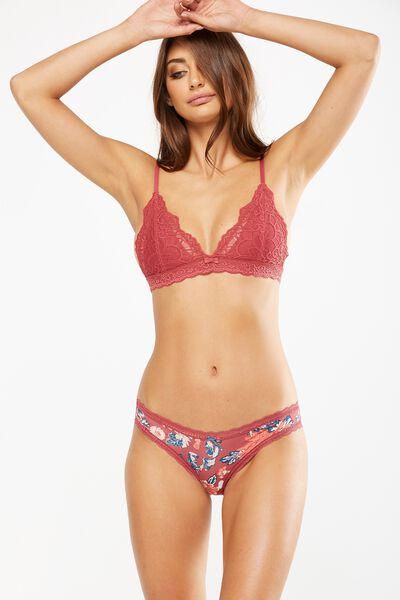 Smooth Lace Trim Bikini Brief, RUSTY ROSE FUSION FLORAL