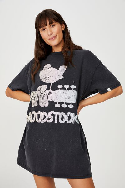 Organic Cotton 90S T-Shirt Nightie, LCN PER WOODSTOCK LOGO WASHED BLACK