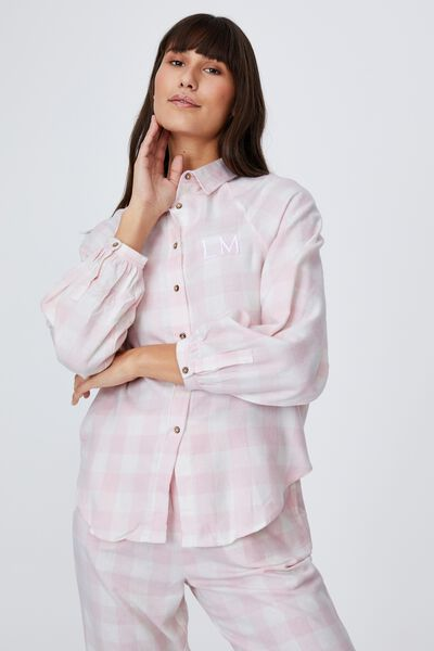 Warm Flannel Sleep Shirt Personalisation, GINGHAM CHECK