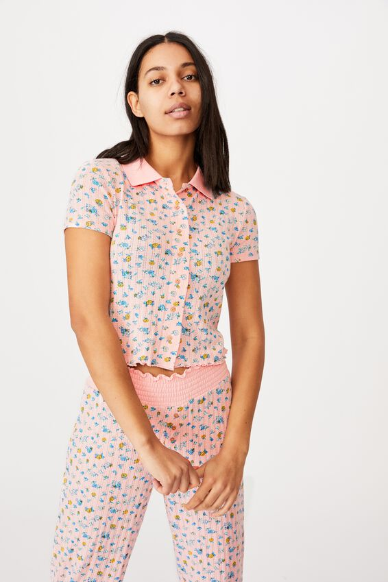 Knit Pointelle Polo, BUTTERFLY DITZY/ROSE WATER MARLE