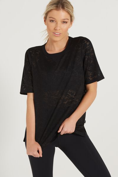 Luxe Embroidered T Shirt, BLACK