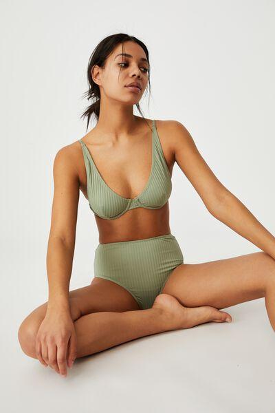 Highwaisted Full Bikini Bottom, KHAKI RIB