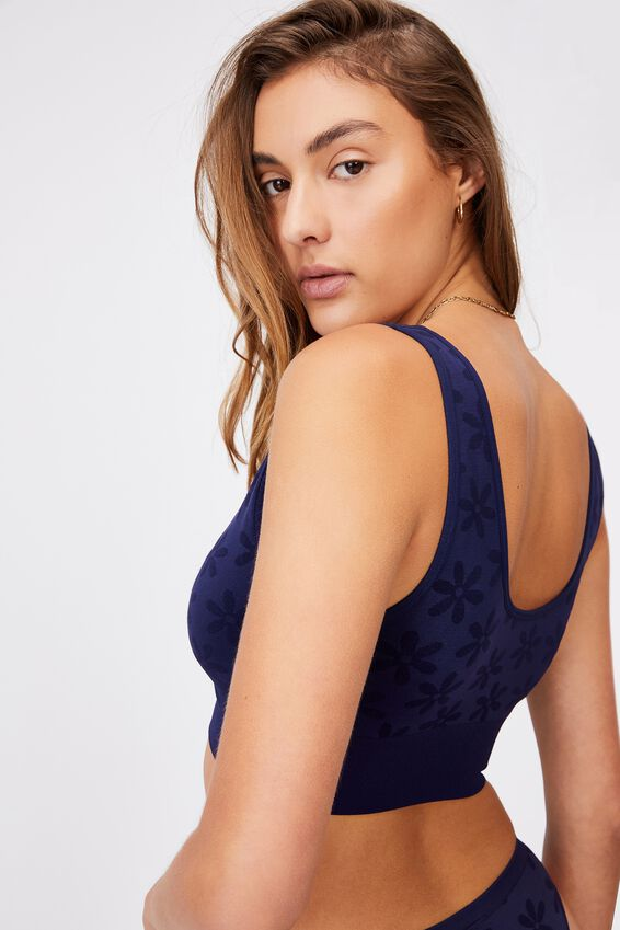 Seamfree Reversible Crop With Cups, NAVY DAISY JACQUARD