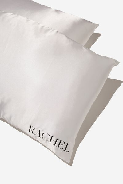 Satin Pillow Slip Duo Personalised, GARDENIA