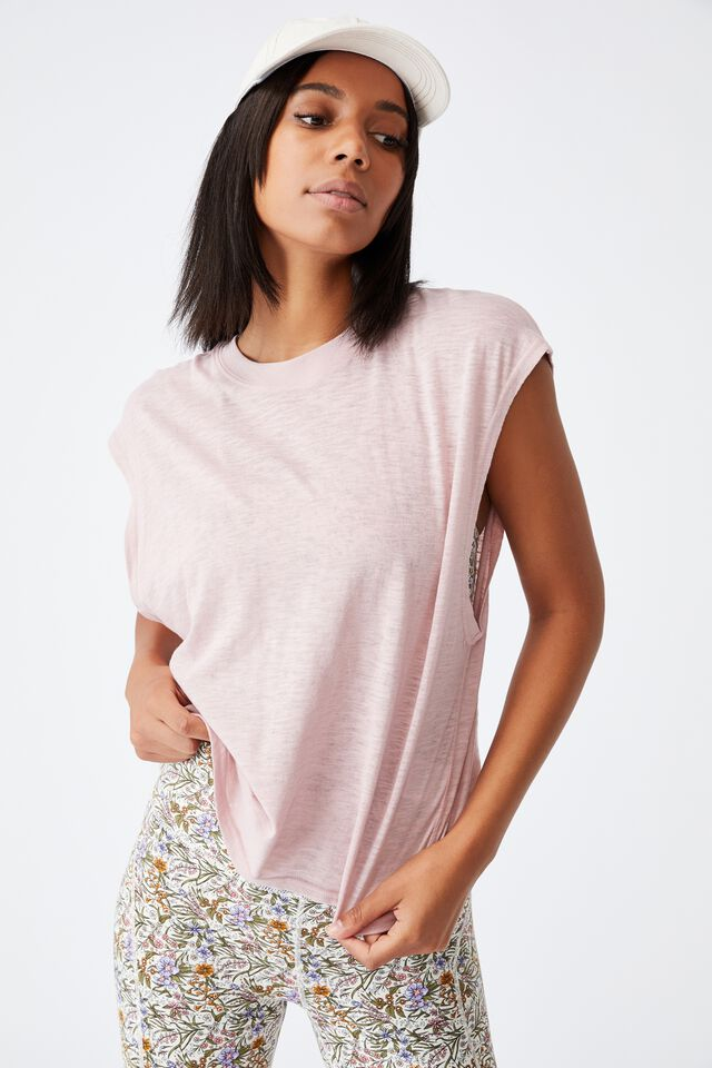 Lifestyle Slouchy Muscle Tank, ALMOND PINK