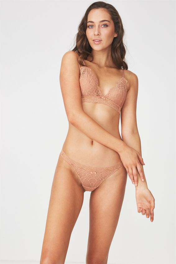 Candice Lace G-String Brief, MAPLE