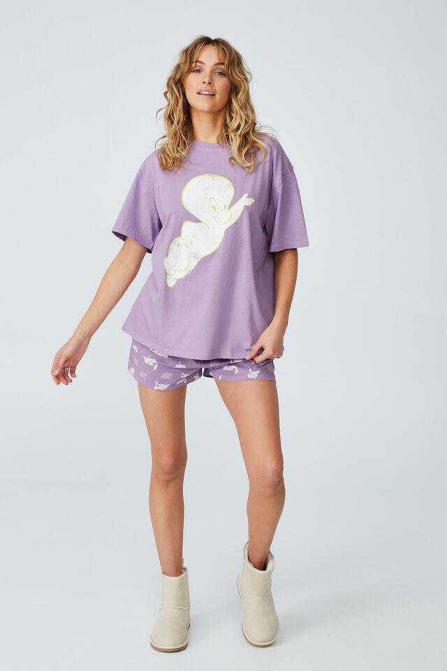 Jersey Relaxed Bed T-Shirt, LCN UNI CASPER/FLYING LAVENDER SORBET