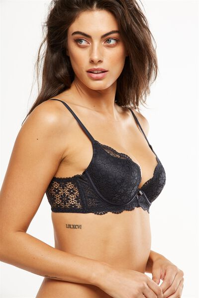 Jojo Push Up Bra, CHARCOAL