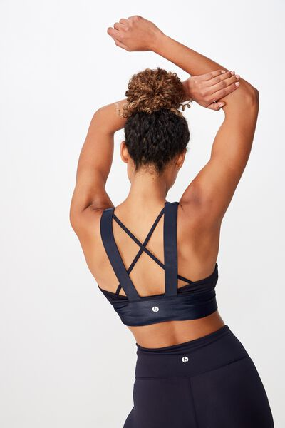 Rib Spliced Sports Crop, NAVY