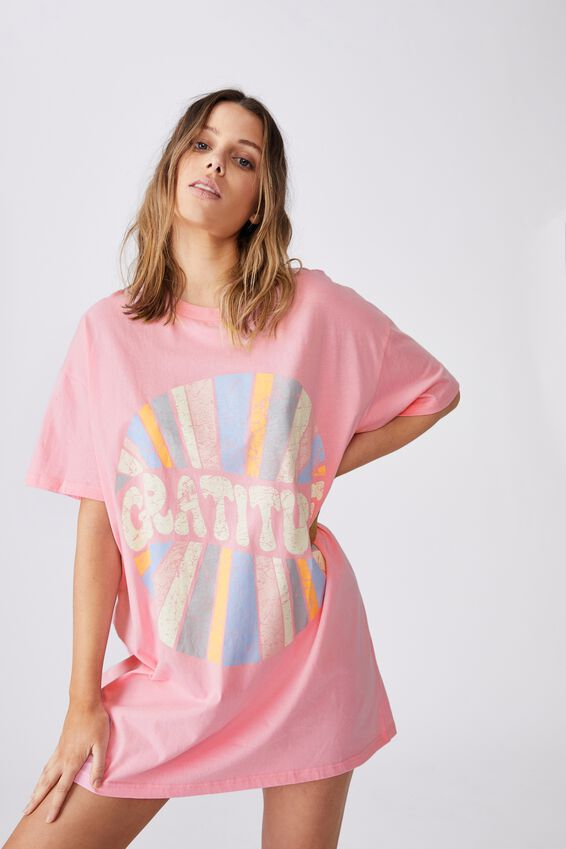 90 S Tshirt Nightie, WASHED POP PINK/GRATITUDE