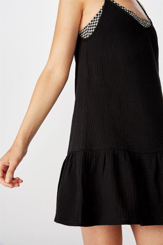 Drop Hem Beach Dress, BLACK