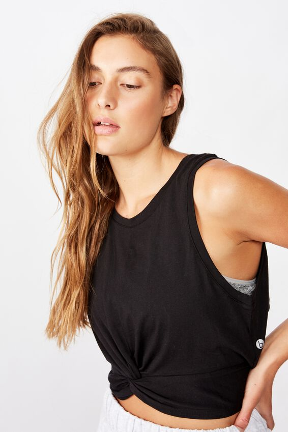 Twist Front Tie Back Tank Top, BLACK