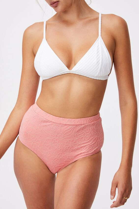 Boyshort Swim Bikini Bottom Jacquard, PINK ALMOND JACQUARD