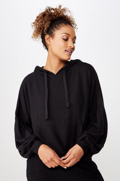 Supersoft Cropped Hoodie, BLACK