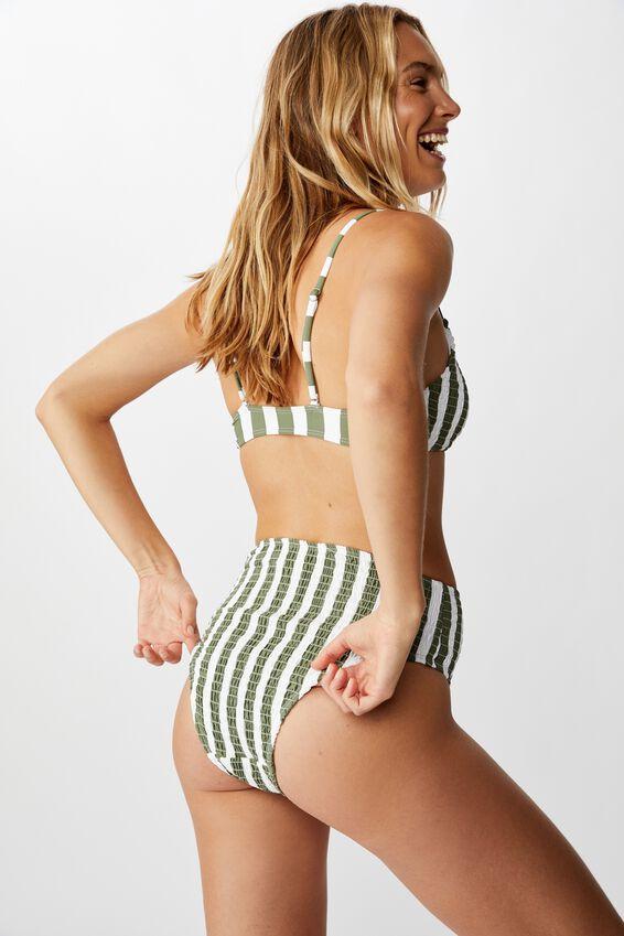 Highwaisted Banded Cheeky Bikini Bottom, COOL AVOCADO STRIPE SHIRRED