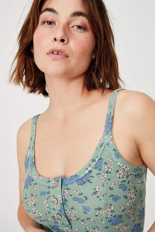 Bed Time Waffle Singlet, FLORAL BUNCH DITZY SMOKE GREEN