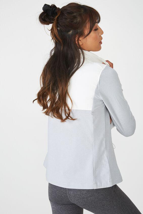 Active Slimline Puffer Jacket, GREY MARLE/WHITE