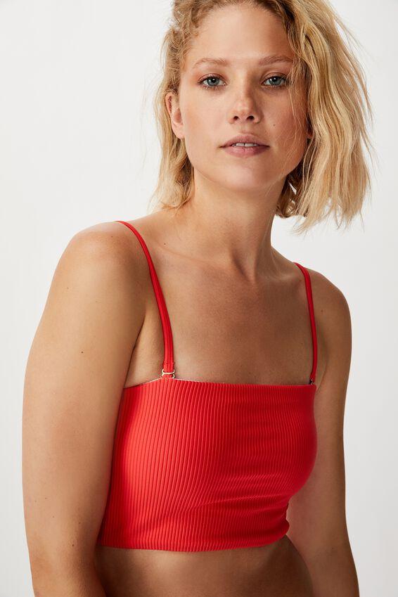 Longline Bandeau Bikini Top, SPICY RED RIB