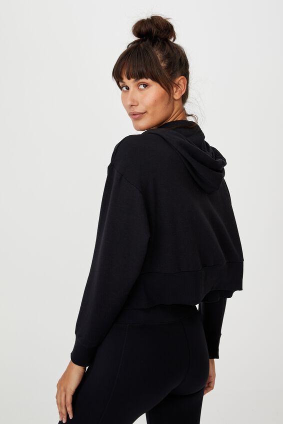 The Ultra Soft Zip Through Hoodie, BLACK