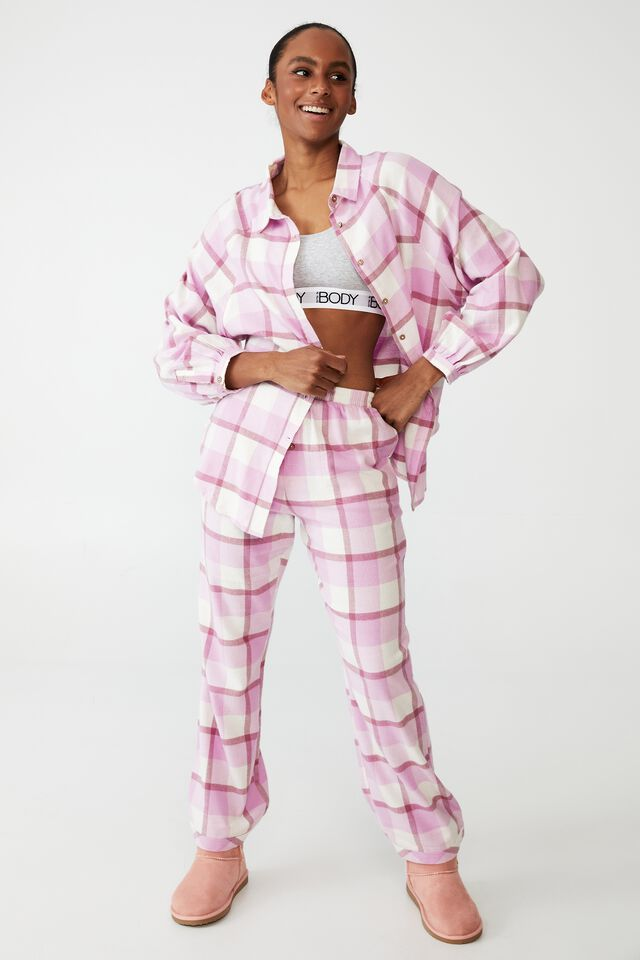 Warm Flannel Sleep Shirt, FIELD CHECK BLOOM