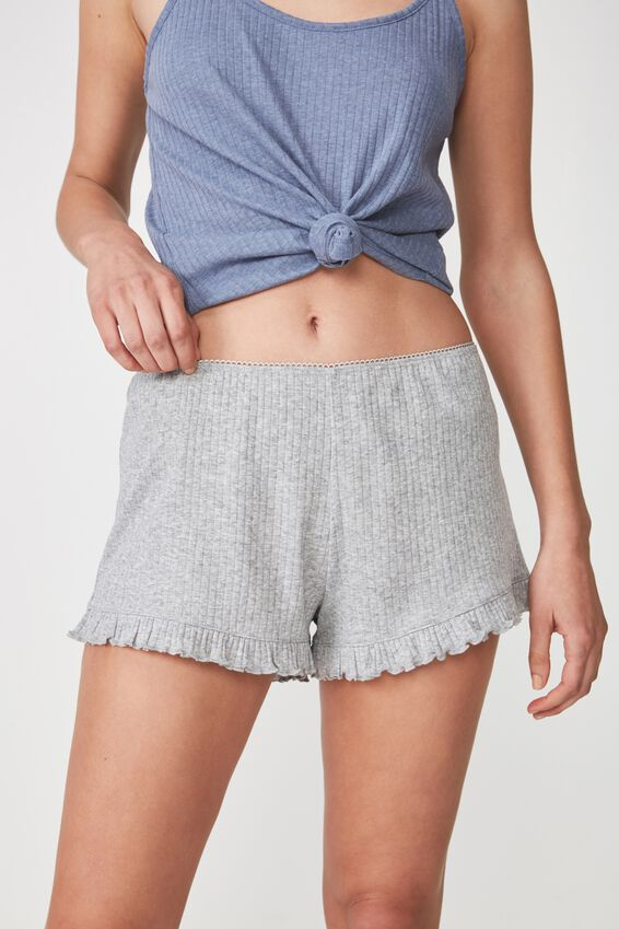 Rib Frill Short, LIGHT GREY MARLE