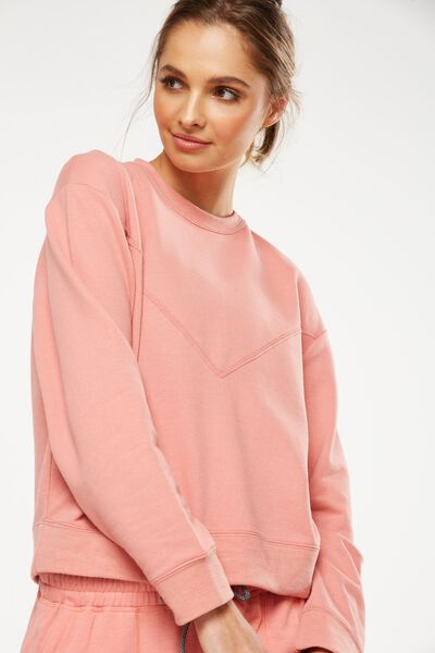 Crew Neck Long Sleeve Top, DUSTY CLAY