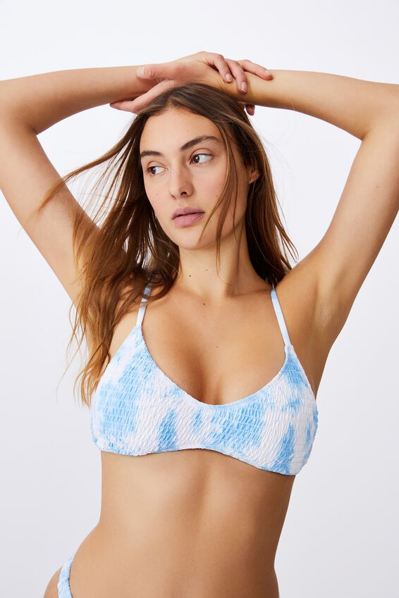 U Crop Bralette Bikini Top, POWDER BLUE TIE DYE SHIRRED