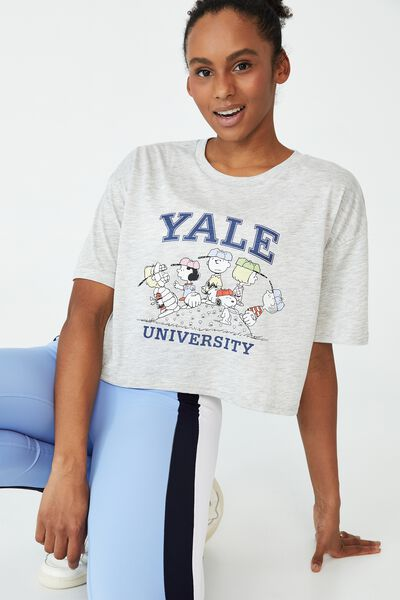 Relaxed Active Graphic T-Shirt, GREY MARLE/YALE SNOOPY BASEBALL